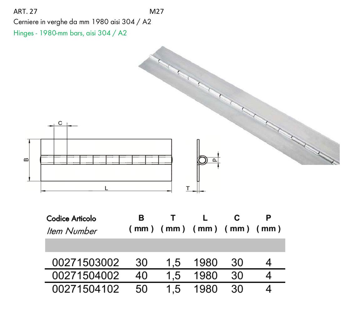 CERNIERA A METRO INOX AISI 304