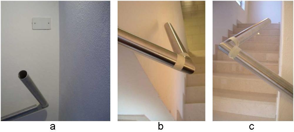 07 - Errato impiego di curve fisse a 90° per la giunzione di corrimano tra rampe consecutive: in questo particolare caso va utilizzato uno snodo regolabile.Impiegando una curva a 90° fissa, dopo il cambio di direzione,  il corrimano si allontanerà (fig.a) oppure andrà contro (fig.b-c) la parete.