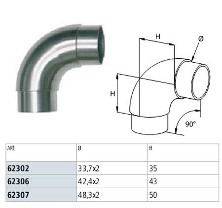 03. Giunzione di corrimano tra rampe consecutive.Le curve fisse e a 90° non sono idonee per questo tipo di giunzione.Dopo la curva uno dei due corrimano tenderà ad allontanarsi (foto 1) o adavvicinarsi (foto 2-3) alla parete su cui andrebbe fissato.Si dovrà utilizzare uno snodo per tubolare (art.62312-62316-62317 oppure 62122-62125-62127)