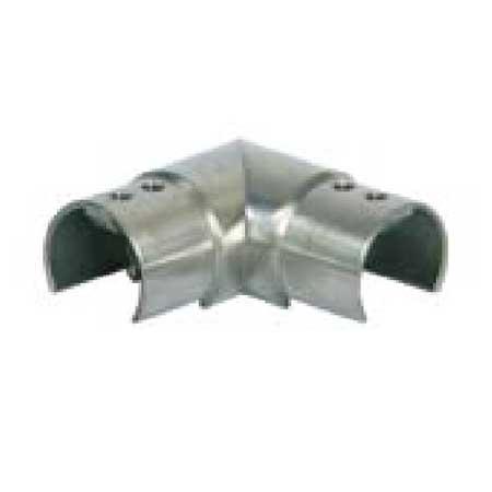 CURVA 90° ORIZZONTALE IN ACCIAIO INOX AISI 316 PER TUBO CIRCOLARE  SCANALATO