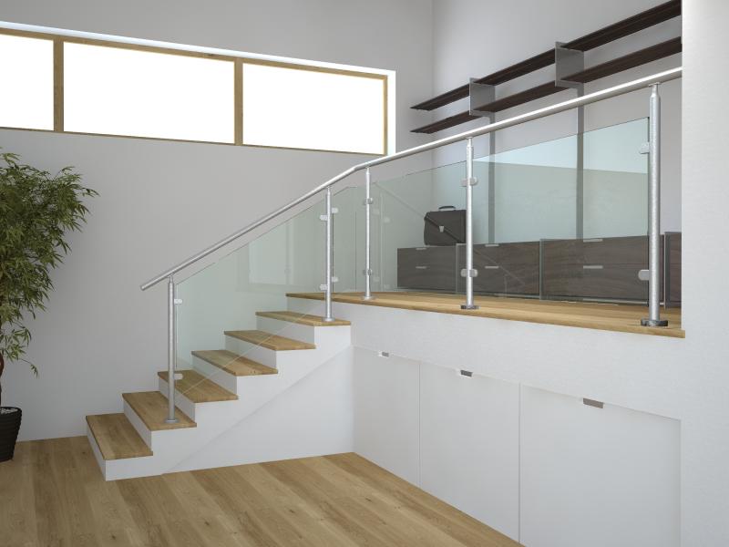 03.MONTANTE Basic vetro - esempio di installazione a pavimento in rampa (H11)e in piano (H10)
