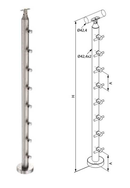 01.Colonna in tubolare Fissaggio a pavimento - Basic M015-M011