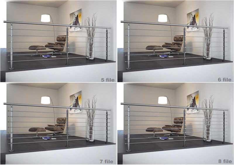 02.Colonna in tubolare Fissaggio a pavimento - Basic M015-M011 Esempi di impiego in piano con 5,6,7 e 8 file di tondini