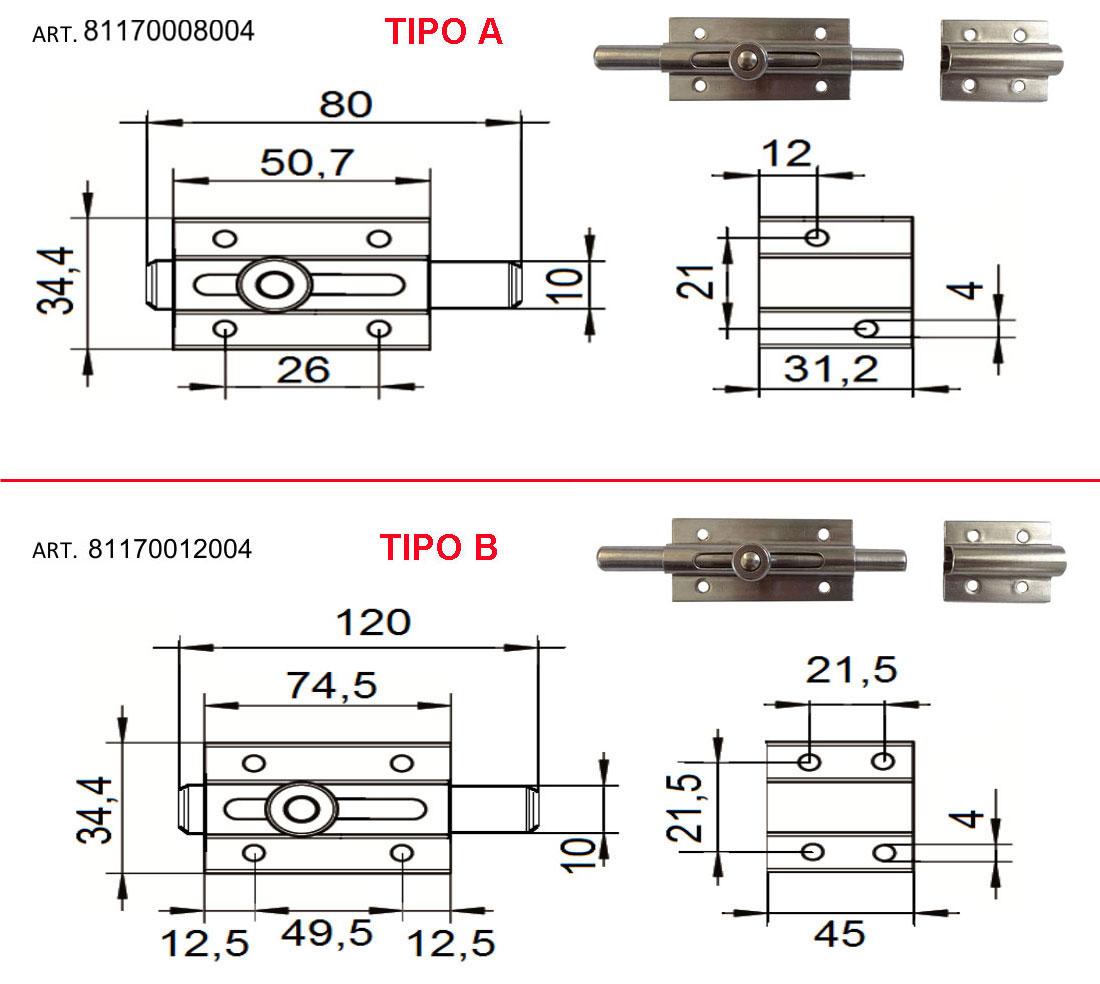 CATENACCIO INOX AISI 304 ASTA TONDAScegli Tipo: A/B