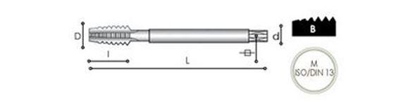 Maschio Carmon per fori passanti DIN 376 in acciaio super rapido al cobalto 5%