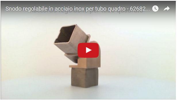 Curva regolabile snodata in acciaio inossidabile per innesto su tubo a sezione QUADRATA