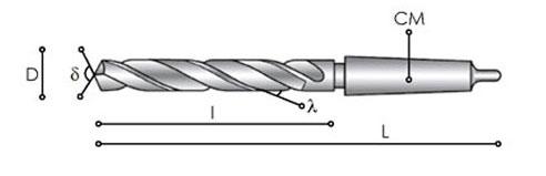 Potente punta elicoidale standard in acciaio rapido di alta qualità.