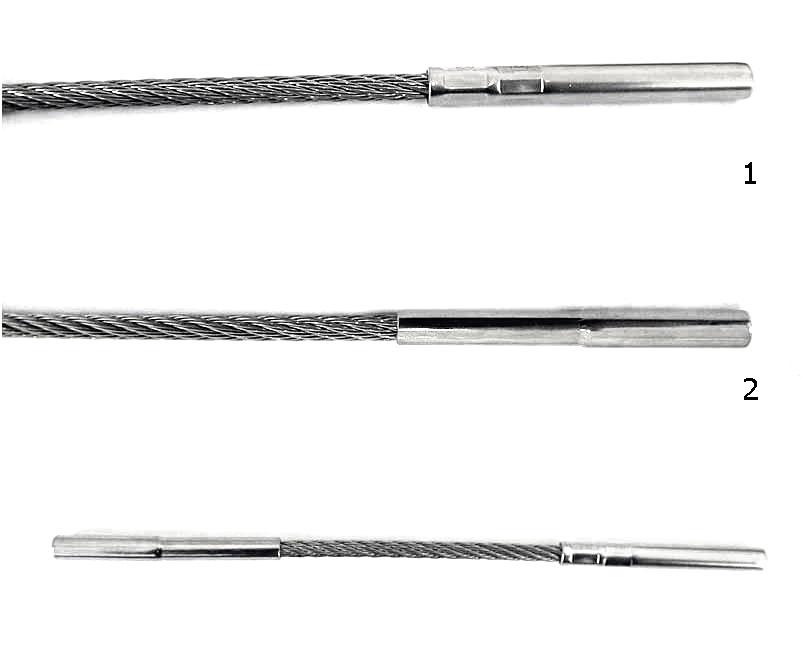 6 - Differenza tra un terminale R2050506-25L pressato con utensile manuale R77100(fig.1)e un terminale serie RK2070506-25 pressato in fabbrica con macchina stazionaria (fig.2)