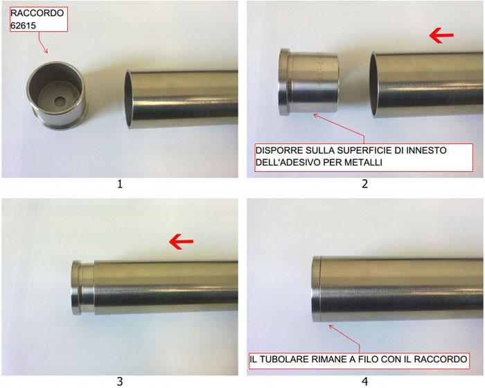 Innesto del fissaggio frontale su un tubolare d.42.4 mm  Nel fissaggio frontale (visibile nell
