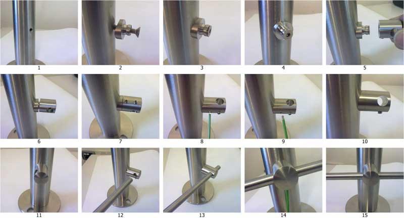 Sequenza di installazione del fissaggio con foro passante (la sequenza è analoga per la versione con foro cieco) su un piantone in tubolare.