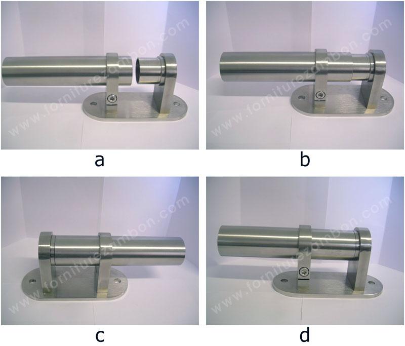 FISSAGGIO LATERALE PER TUBO, INOX AISI 304, CON ANELLO CILINDRICO E PIASTRA: innesto del tubo (a-b) e viste laterali (c-d)