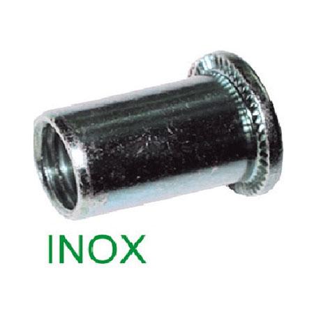 INSERTI FILETTATI INOX AISI 304, CILINDRICO TESTA PIANA - CONFEZIONE 200 PEZZI
