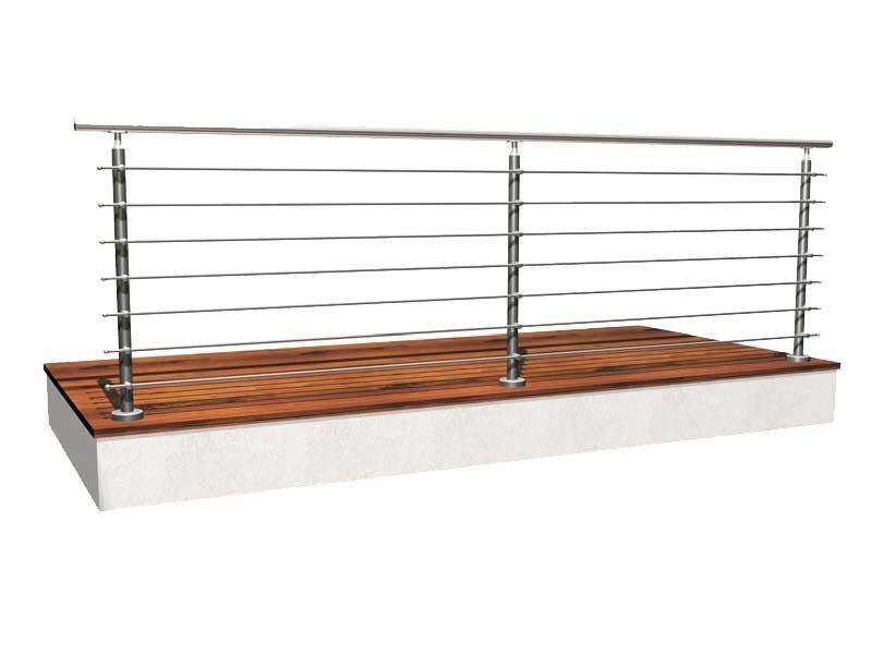 Parapetti e ringhiere basic in acciaio inox satinato for Ferro tubolare quadrato prezzo