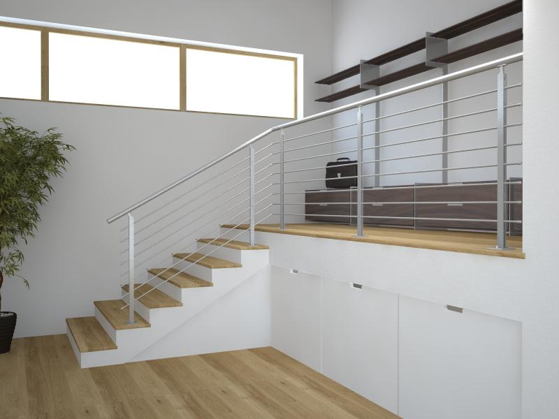 04.PARAPETTO INOX Mod.TWIN a pavimento - Esempio di installazione (rendering) in rampa (twin H11) e piano (twin H10)