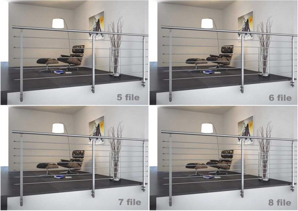 02.PARAPETTO INOX Mod.TWIN H12 - Esempi di installazione ( rendering) con 5,6,7 e 8 file.
