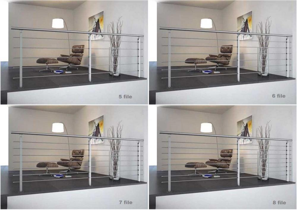 02.PARAPETTO INOX Mod.TWIN PLUS a pavimento H.1000 - Esempi di installazione ( rendering) con 5,6,7 e 8 file.