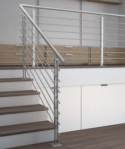 03.PARAPETTO INOX Mod.TWIN PLUS a pavimento - Esempio di installazione (rendering) in rampa e piano