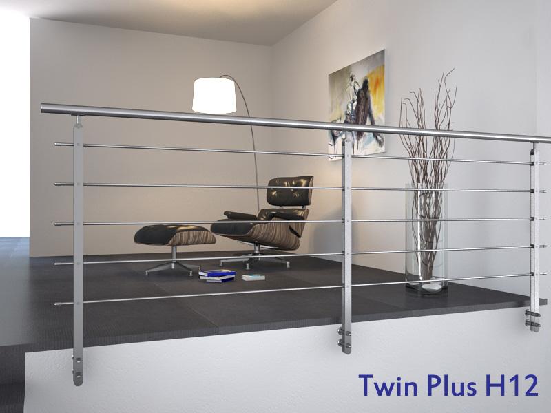01.PARAPETTO INOX Mod.Twin Plus H13 - esempio di installazione in piano a 5 file