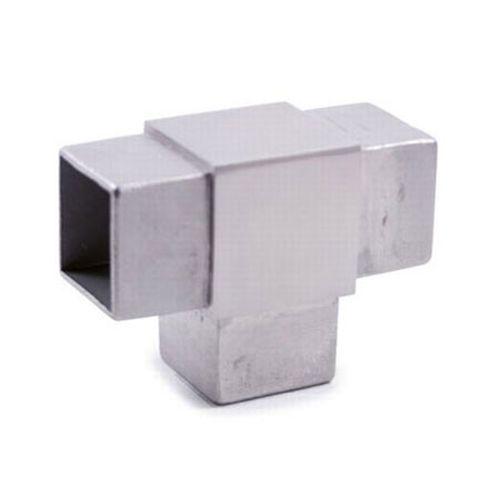 """Raccordo a """"T"""" in acciaio inossidabile per innesto su tubo a sezione QUADRATA"""