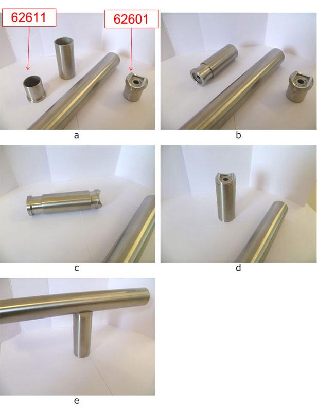 10. Esempio di impiego del raccordo 62601 come sostegno corrimano in abbinata al fissaggio frontale per tubo 62611