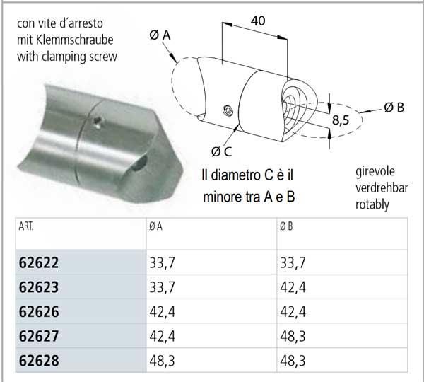 02.RACCORDO DI FISSAGGIO LATERALE REGOLABILE PER TUBO, INOX AISI 304 - specifiche