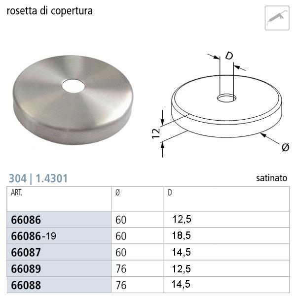 02. QUOTE DELLA ROSETTA DI COPERTURA INOX AISI 304 FORO PICCOLO