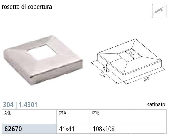 ROSETTA DI COPERTURA INOX AISI 304 PER TUBO QUADRO