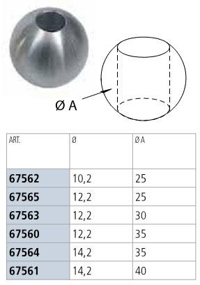 2 - SFERA INOX CON FORO PASSANTE QUOTE