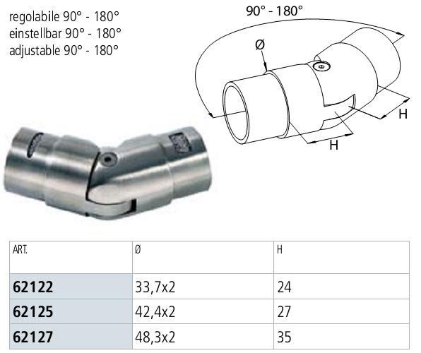03. Quote dello SNODO INOX AISI 304  PER TUBO, REG.90-180° - specifiche tecniche. l