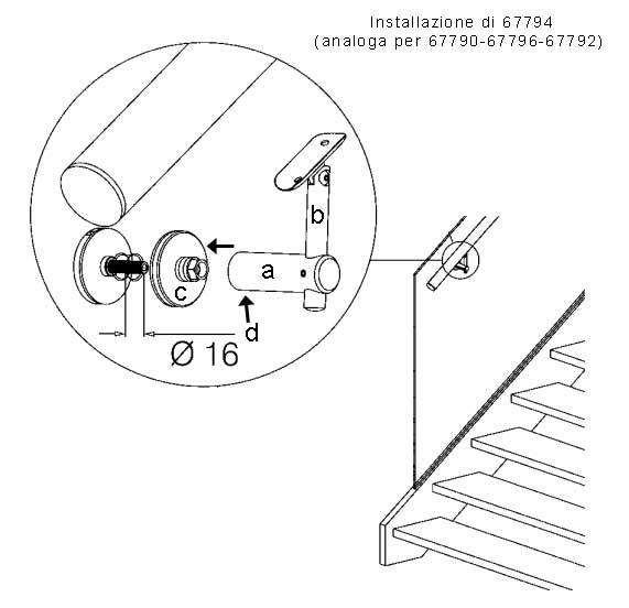 03. Installazione dei sostegni corrimano a vetro - inclinazione del perno verticale rispetto al pavimento  Il sostegno è composto da: - ( a ) : elemento orizzontale - ( b ) : elemento verticale con testa fissa (67790-67792) o snodata (67794-67796) - ( c ) : un fissaggio a punto da installare sul vetro  E