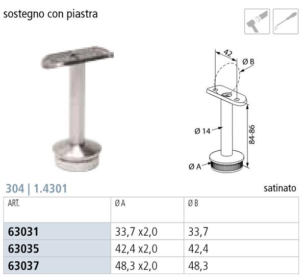 SUPPORTO CORRIMANO INOX AISI 304, DA INNESTO, CON PERNO FISSO