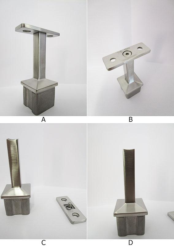 03.La sella piana è avvitata (con una vite M6 svasata) al sostegno 62695-V4A. Se si vuole sostenere un corrimano a sezione circolare (tubolare Ø42.4 mm) la sella piana può essere svitata e sostituita con la sella cod.63176. La testa del sostegno (sulla quale si avviterà la sella 63176) è raggiata per tubo Ø42.4-48.3 mm.