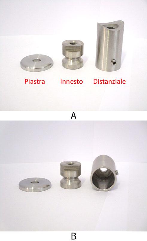 03. Elementi componenti il supporto per maniglione: - piastra di appoggio con foro centrale - innesto con foro centrale filettato M8 - distanziale con estremità raggiata (per l