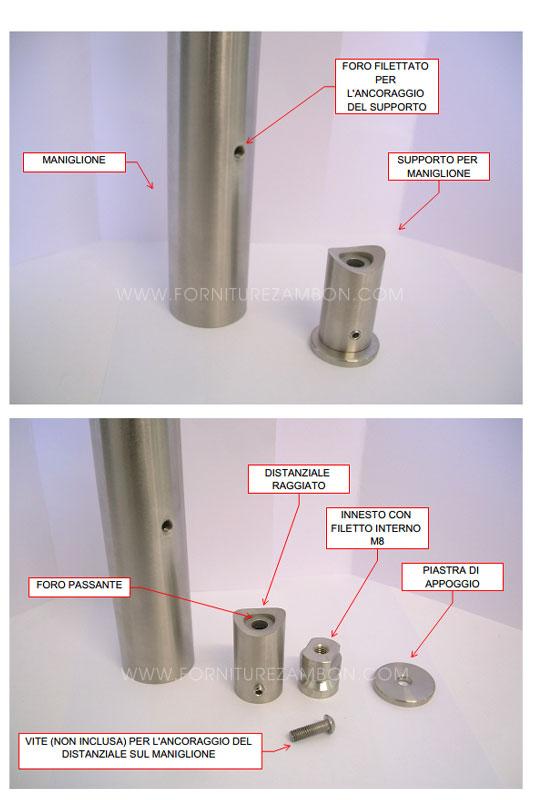 04. Il supporto è composto da 3 elementi : piastra, innesto e distanziale raggiato. Il distanziale raggiato va ancorato al maniglione (sul quale dovrà essere eseguito un filetto M8) inserendovi all