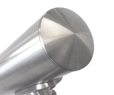 04. TAPPO INOX AISI 304 LEGGERMENTE BOMBATO - installazione su tubolare d.42.4